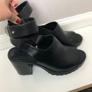 Zara leather chunky heel shoe